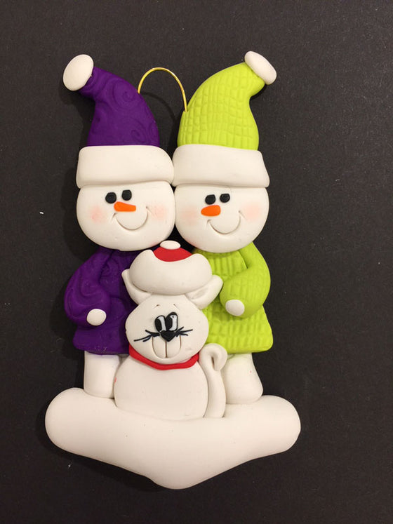 Couple with White Cat Ornament