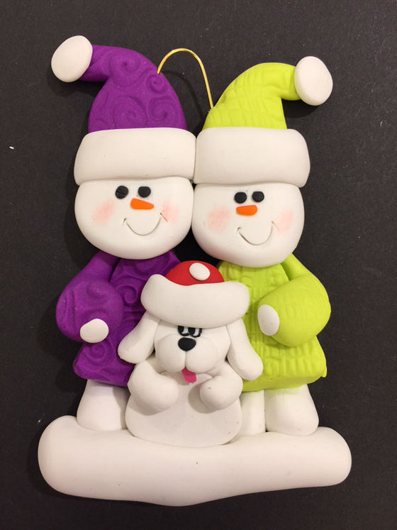 Couple with White Dog Ornament