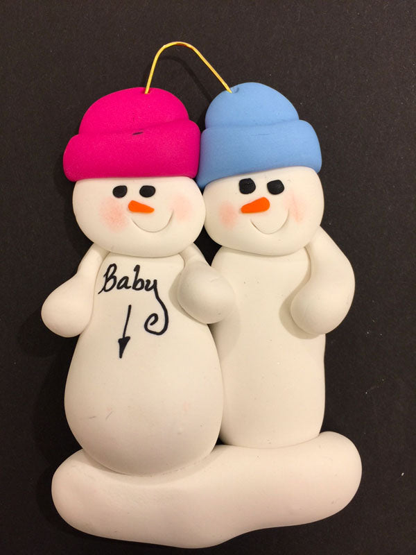 Expecting Snowman Couple Ornament