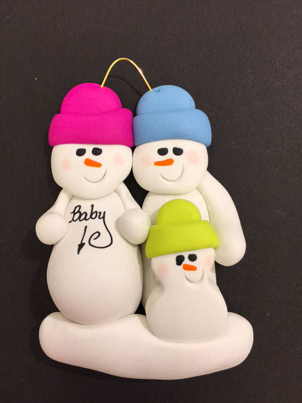 Expecting Snowman Couple with 1 Child Ornament