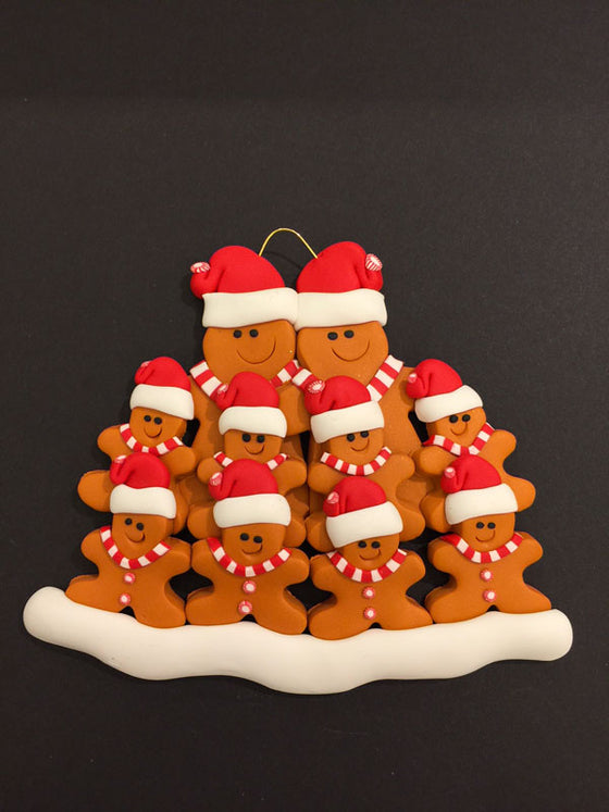 Ginger Bread Family of 10 Ornament