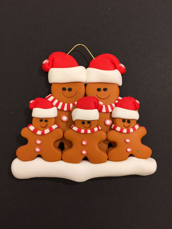 Ginger Bread Family of 5 Ornament