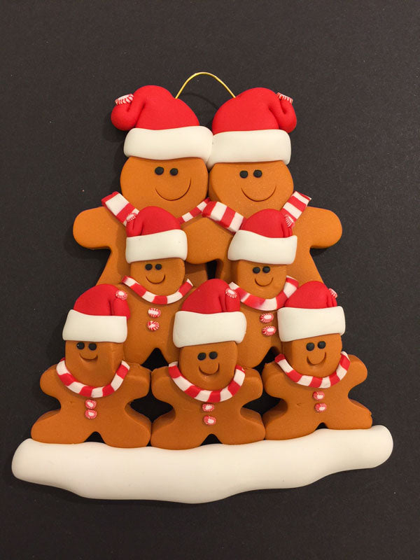 Ginger Bread Family of 7 Ornament