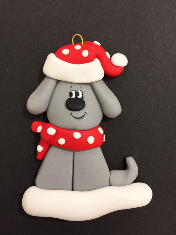 Grey Dog Ornament