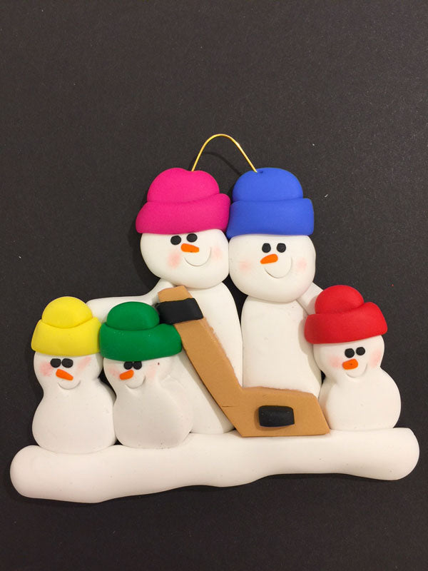 Hockey Family of 5 Ornament