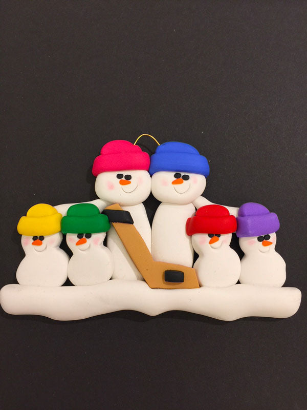 Hockey Family of 6 Ornament