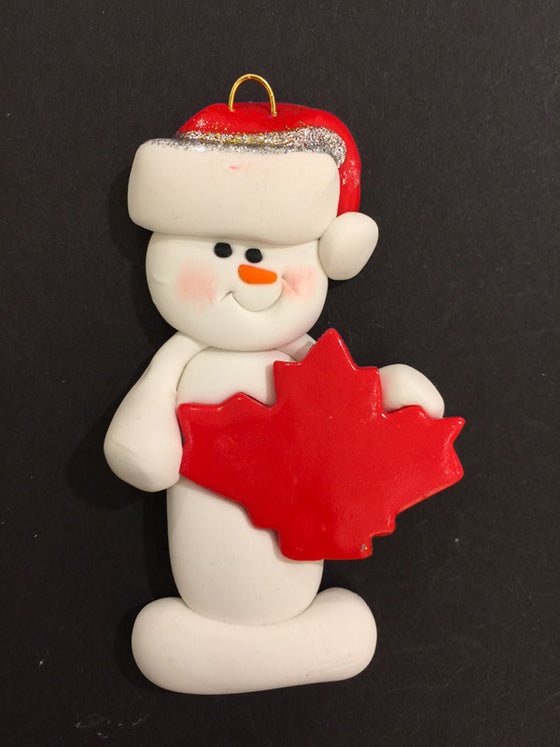 Maple Leaf Snowman Ornament