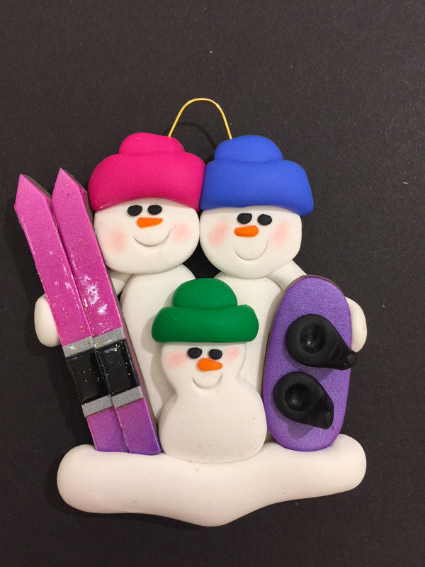 Ski/Snowboard Family of 3 Ornament