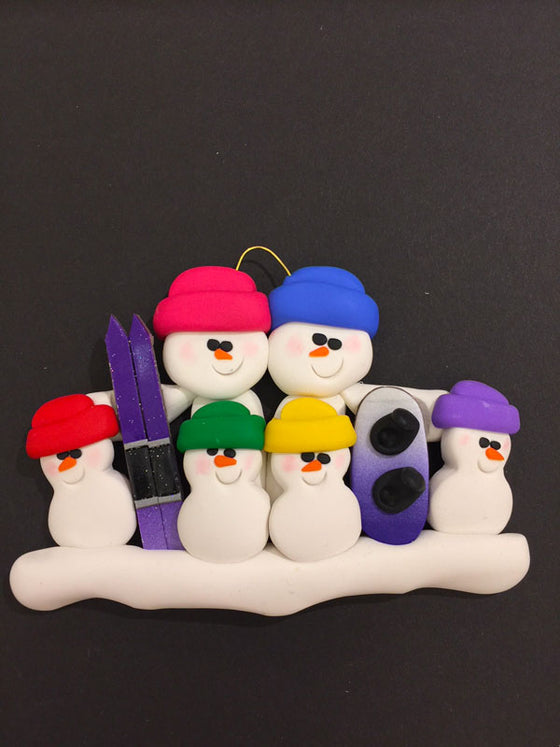 Ski/Snowboard Family of 6 Ornament
