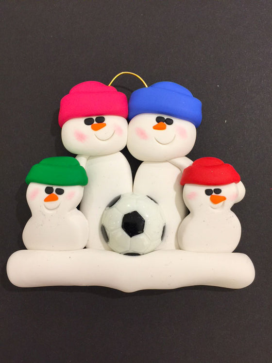 Soccer Family of 4 Ornament
