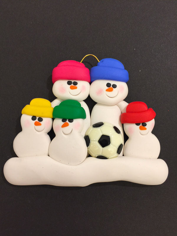 Soccer Family of 5 Ornament
