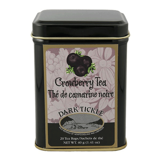 Canadian made Crowberry Tea in a Black and gold tin