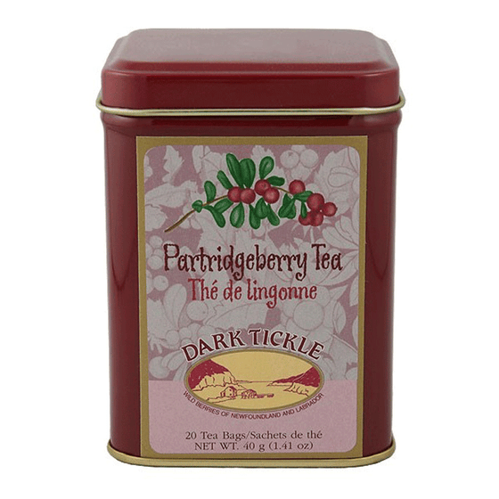 Canadian made partridgeberry tea in a burgundy and gold tin.