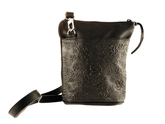 A black deerskin shoulder bag with maple leaves of varying sizes embossed on the outside. A shoulder strap clips to each end of the bag.