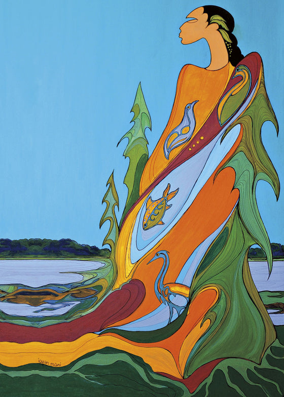 A woman facing left stands at the edge of a river.  Behind her are pine trees and a bright blue sky. She is wearing a dress which resembles earth, water and trees. A fish swims in the water part of her dress. Two birds stand on the earth part of her dress. This Canadian Indigenous print was painted by Maxine Noel, a Sioux artist born on the Birdtail Reserve, Manitoba.