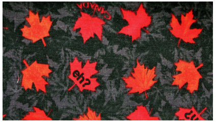 "Black Canadian made face mask featuring red maple leaves and ""eh?"""