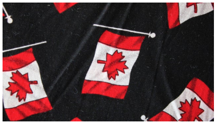 Black Canadian made face mask featuring the Canadian flag