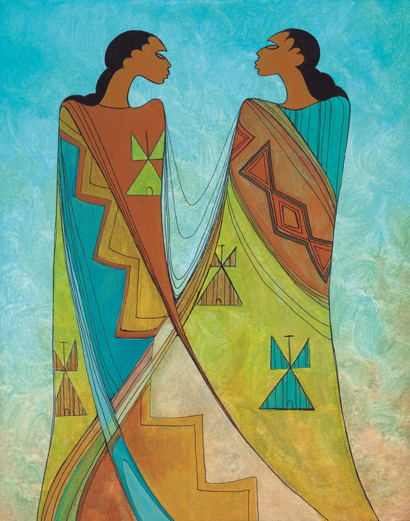Two women face each other. Both are wearing dresses with brown, blue, and green fabric. The dresses have geometric designs resembling diamonds and teepees. The dresses overlap and merge at the bottom, so you cannot tell who is wearing which dress.  This Canadian Indigenous print was painted by Maxine Noel, a Sioux artist born on the Birdtail Reserve, Manitoba.