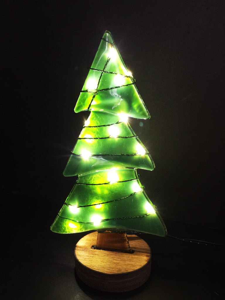 Large Fusion Glass Tree - Green with White Lights