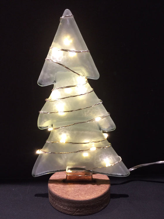 Large Fusion Glass Tree - White with White Lights