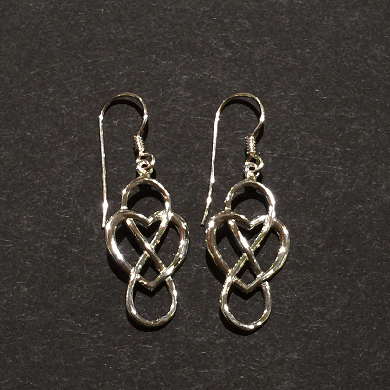 Two sterling silver hook earrings showing an infinity symbol intertwined with a heart. The infinity symbol is placed vertically so it resembles an eight. The earring hooks attach to the top of the infinity symbol.