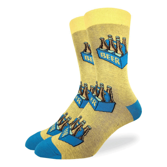 "These fun socks feature six beer bottles in a blue cardboard carrying box with the word ""BEER"" written on the side. The boxes are on top of a dark yellow background, with blue heels and toe, and bright yellow rim. Spandex added to the 85% cotton blend gives the socks the perfect amount of stretch to hug your feet."