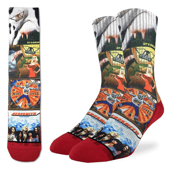 "These fun socks feature images of Aerosmith's album covers, such as ""Get a Grip"", ""Nine Lives"", ""Aerosmith"", and a single called ""Love in an Elevator"". The sole, toe, and heel of teh socks are red. The active fit socks sport elastic arch bands to contour to your feet and provide support."