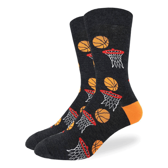 These fun socks feature orange basketballs about to fall into a red rimmed basketball net. The heel of the socks are orange, while the rest of the sock is black. Spandex added to the 85% cotton blend gives the socks the perfect amount of stretch to hug your feet.