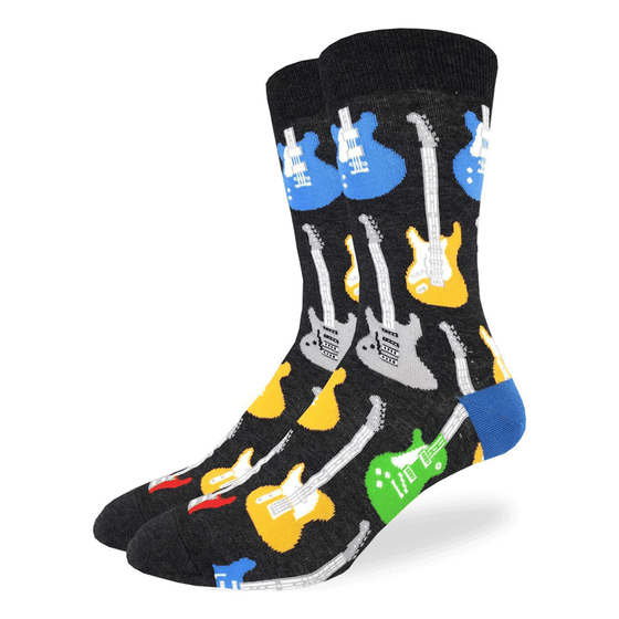 These fun socks feature red, yellow, green, blue, and grey guitars with white necks standing upright on a black background that makes the guitars pop. Spandex added to the 85% cotton blend gives the socks the perfect amount of stretch to hug your feet.