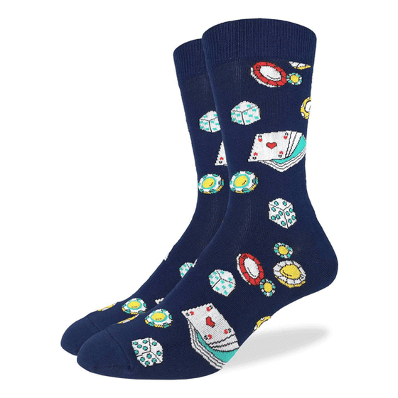 These fun socks feature casino chips, blue and green coloured dice, and a deck of cards with the ace of hearts facing up, on a background of navy blue. Spandex added to the 85% cotton blend gives the socks the perfect amount of stretch to hug your feet.