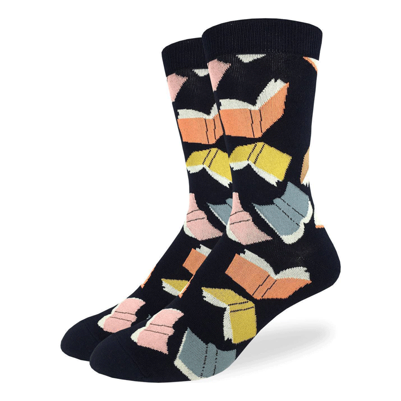 These fun socks are covered in yellow, orange, blue, and pink coloured books flying all around like birds on a black background. Spandex added to the 85% cotton blend gives the socks the perfect amount of stretch to hug your feet.