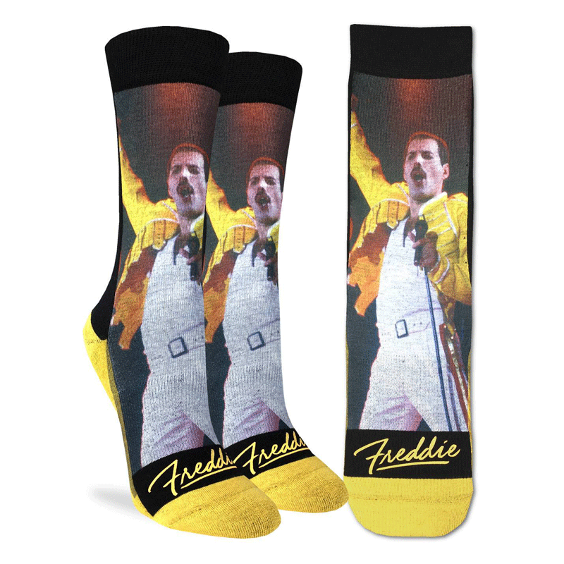 These fun socks feature a picture of Freddie Mercury  performing at Wembley Stadium in 1986. A black background is around the photo with a copy of his autograph printed in yellow below. The sole, toe, and heel of the sock is yellow.The active fit socks sport elastic arch bands to contour to your feet and provide support.