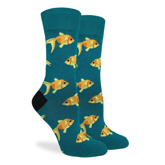 These fun socks feature goldfish swimming about on a teal background and black heel. Spandex added to the 85% cotton blend gives the socks the perfect amount of stretch to hug your feet.