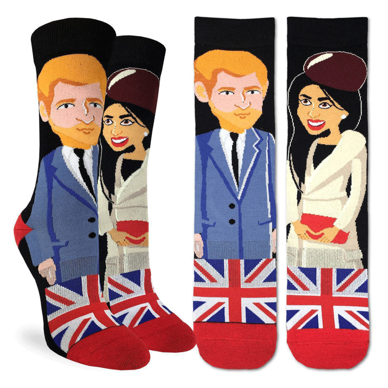 These fun socks feature the cartoon figures of Prince Harry and Meghan Markle, one on each sock, with a United Kingdom flag underneath. The toe and heel are red, and the rest of the sock is black. The active fit socks sport elastic arch bands to contour to your feet and provide support.