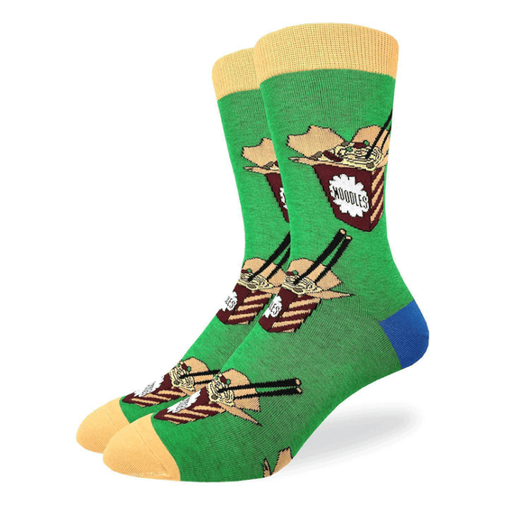 These fun socks feature surare, burgundy cardboard boxes of ramen noodles with chopsticks sticking out from the top. The background of the socks is green, while the toe and rim are pale yellow and the heel is blue. Spandex added to the 85% cotton blend gives the socks the perfect amount of stretch to hug your feet.