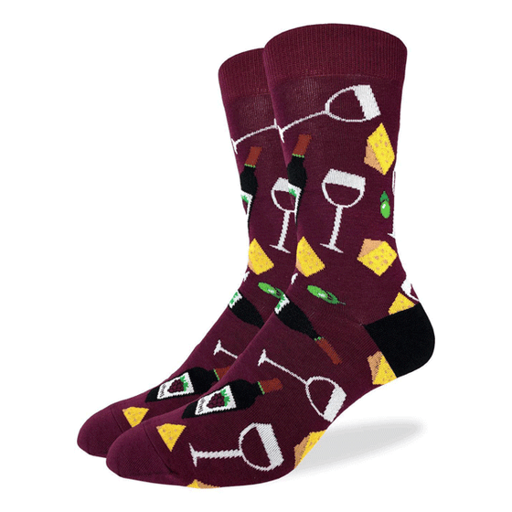 These fun socks feature a glass and bottle of wine, and a wedge of cheese, on a background of burgundy with a black heel. Spandex added to the 85% cotton blend gives the socks the perfect amount of stretch to hug your feet.