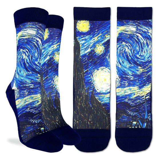 "These fun socks feature a print of the famous painting ""Starry Night"" by Vincent van Gogh. The sole, toe, heel, and rim of the socks are black. The active fit socks sport elastic arch bands to contour to your feet and provide support."