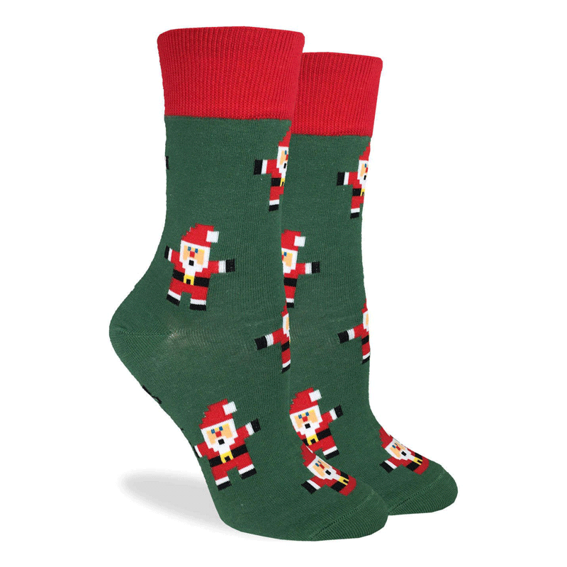 These festive socks feature an 8-bit style Santa Clause on a green background with a bright red rim. Spandex added to the 85% cotton blend gives the socks the perfect amount of stretch to hug your feet.