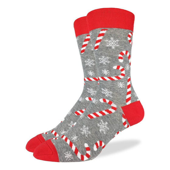 These festive socks feature red and white candy canes and snowflakes on a grey base, and bright red heel, toe, and rim. Spandex added to the 85% cotton blend gives the socks the perfect amount of stretch to hug your feet.