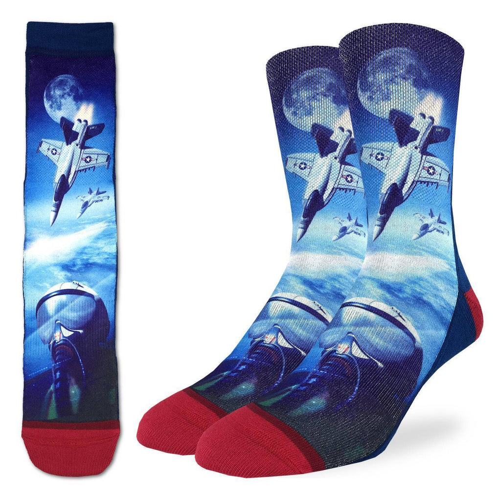These fun socks feature three white and grey fighter jets high in the Earth's atmosphere. At the bottom of the image is a close up of a pilot with a high altitude helmet on. Two more jets fly on a background of the Earth and the Moon in the distance. The sole and back of the sock is a dark blue, while the toe and heel is red. The active fit socks sport elastic arch bands to contour to your feet and provide support.