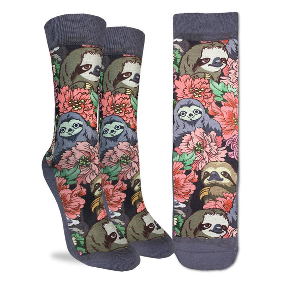 These adorable socks feature smiling three-toed sloths among pink flowers and green leaves. The sole, toe, heel, and rim of the socks are a purple tinted grey. The active fit socks sport elastic arch bands to contour to your feet and provide support.