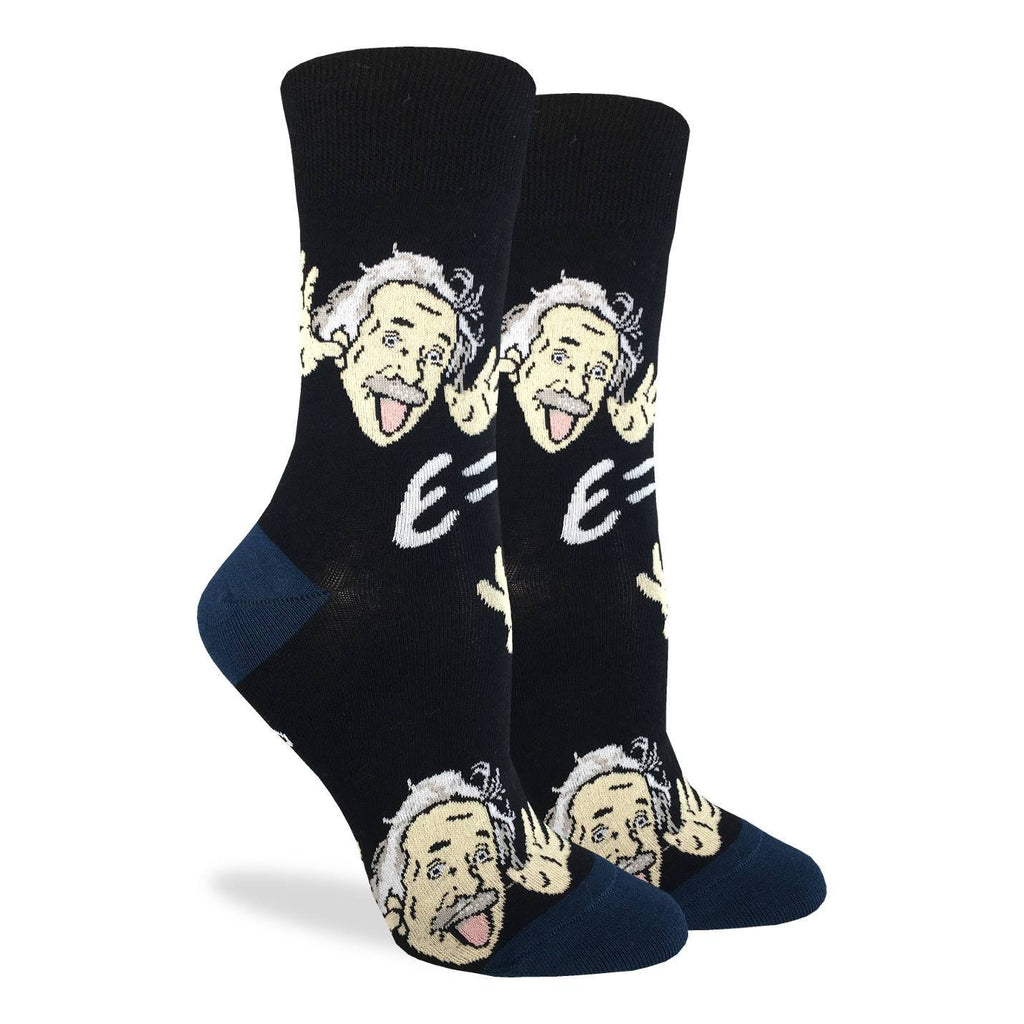 These fun socks feature a cartoon of Albert Einstein doing the moose antlers hand gesture, with his famous equation E=mc2 on a background of black with a navy blue heel. Spandex added to the 85% cotton blend gives the socks the perfect amount of stretch to hug your feet.