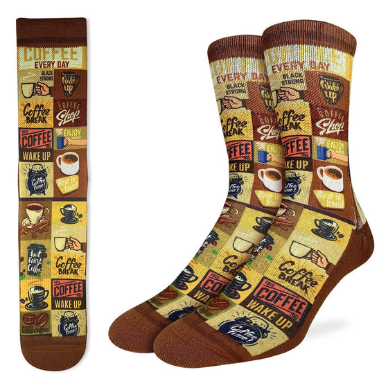 These fun socks feature many images of coffee cups, and coffee house signs, all in tones of yellow and brown. The sole, toe, heel, and rim of the socks are a coffee bean brown. The active fit socks sport elastic arch bands to contour to your feet and provide support.