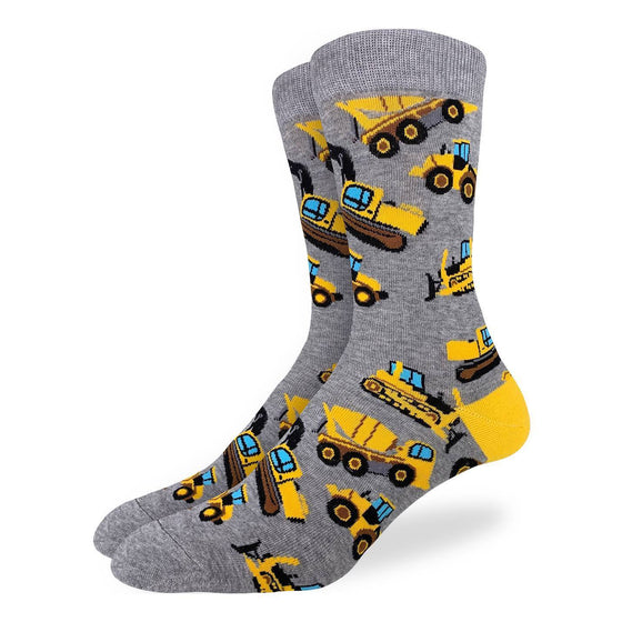 These fun socks feature construction vehicles such as bulldozers, loaders, excavators, and cement mixers, all coloured bright yellow, on a speckled grey background. Spandex added to the 85% cotton blend gives the socks the perfect amount of stretch to hug your feet.
