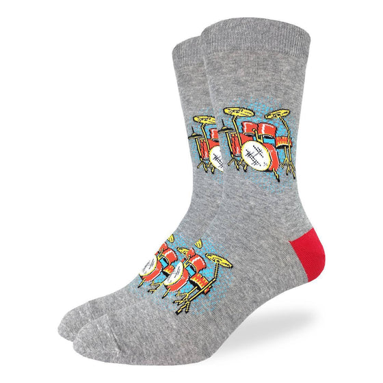 These fun socks feature red drum sets with a blue glow from behind them on a light grey speckled background with a red heel. Spandex added to the 85% cotton blend gives the socks the perfect amount of stretch to hug your feet.