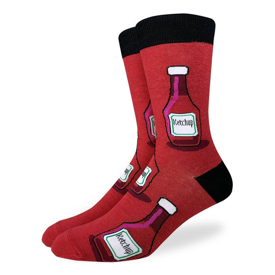 These funs socks feature red ketchup bottles with a white label and cap on a red background with black heel and rim. Spandex added to the 85% cotton blend gives the socks the perfect amount of stretch to hug your feet.