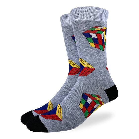 These fun socks feature Ribkic's cubes, completed and mixed up, on a speckled grey background with a lighter grey rim, and black toe and heel. Spandex added to the 85% cotton blend gives the socks the perfect amount of stretch to hug your feet.