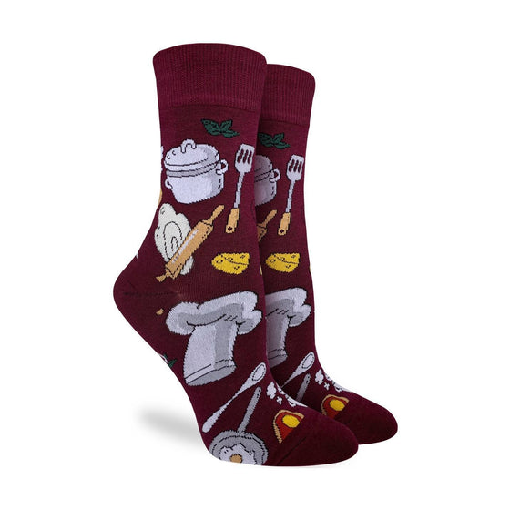 These fun socks feature items every chef needs, such a spatula, a pot, a wedge of cheese, and a chef's hat. These items are on a deep burgundy background. Spandex added to the 85% cotton blend gives the socks the perfect amount of stretch to hug your feet.
