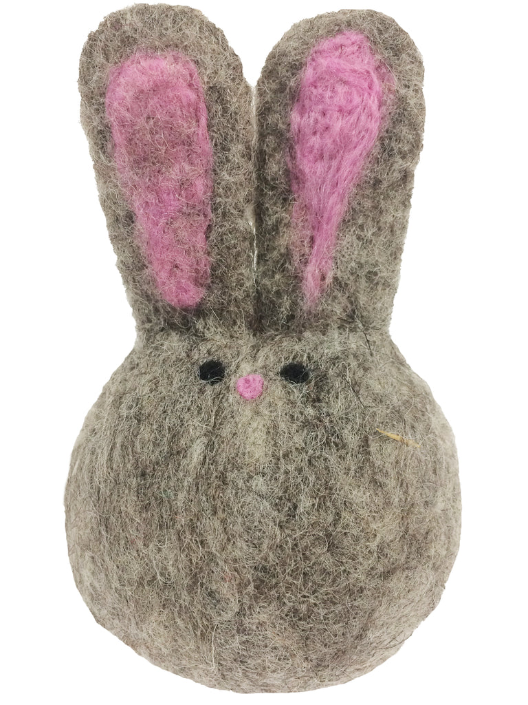 A grey variant of the felted rabbit ornament.
