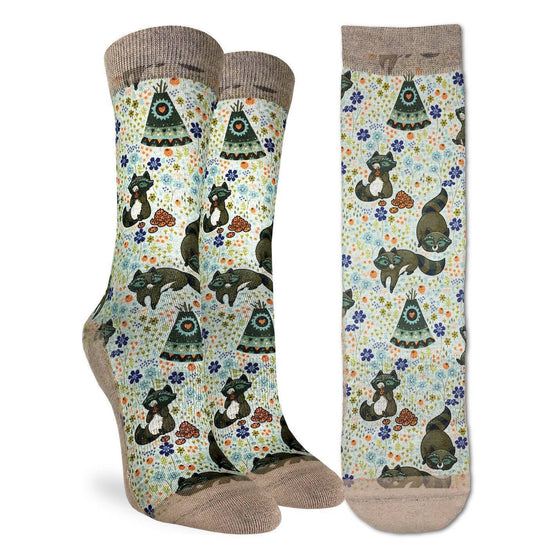 These fun socks feature happy racoons hopping sound, napping, and munching on cookies on a light cream coloured background with colourful flowers. The sole, toe, heel, and rim of the sock is a tan colour. The active fit socks sport elastic arch bands to contour to your feet and provide support.